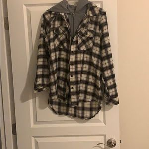 Flannel shirt with hood